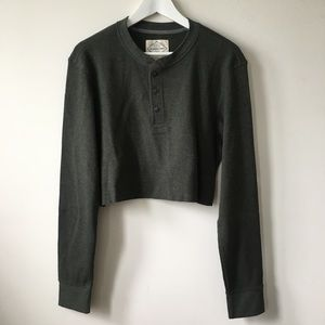 Vintage Sweaters - vintage Green Henley Thermal Crop Oversize Sweater